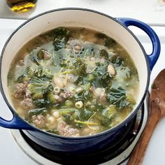 Minestra with Sweet Sausage - Rachael Ray In Season Sweet Sausage Recipes, Pork Recipes, Gourmet Recipes, Chicken Recipes, Dinner Recipes, Healthy Recipes, Healthy Soups, Skillet Recipes, Sauce Recipes