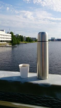 Finnish style in July. Coffee from thermos in the middle of campus area.