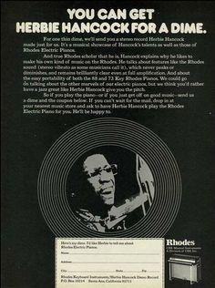 "1974 Rhodes Music Electric Piano Ad ""Herbie Hancock"""