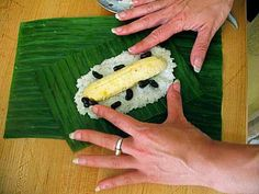 ... Banana Leaf-Wrapped Sticky Rice Stuffed with Banana and Black Beans