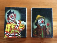Two wonderful little original oil paintings by Donna Dunann of California. Hobo clown and auguste clown portraits on 5 x 7 canvases, with