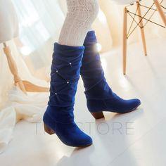 Trendy Rhinestone Decoration Pointed-Toe Chunky Heel Knee High Boot