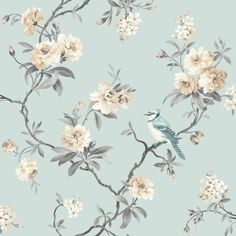 vogel bloemen bomen behang 40765