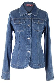 "26"" long denim jacket with princess seams and 3% spandex"