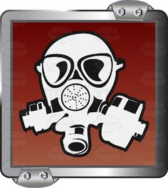 White Gas mask On Red Inside Grey Metal Square #airborne #breathe #caution #cover #danger #eyes #face #gas #inhale #label #lungs #mouth #nose #PDF #poison #protection #respirator #risk #safety #security #sign #symbol #threat #toxic #vectorgraphics #vectors #vectortoons #vectortoons.com #warning