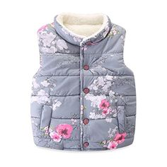 """Mud Kingdom Girls' Floral Faux Fur Cute Vests Outerwear  Featured Floral Print  Faux Fur Inside  For Spring, Autumn & Winter  Please Read """"Size Specification"""" In """"Product Description"""" To Make Sure The Size You Choose Fits As Expected  Adorable Design, Comfortable Fabric and Much More Beautiful Than Pictures, Kids Will Like It As Gift"""
