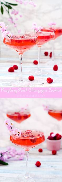 Peach vodka, fresh raspberry syrup and champagne are combined to make this gorgeous Mother's Day Raspberry Peach Champagne Cocktail. Sweet, bubbly and full of fresh, fruity flavours, this is the perfect cocktail to serve at a Mother's Day brunch or any sp