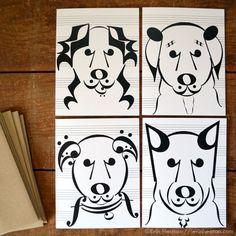 This set of eight (8) blank note cards features two of each design. Each of these dogs is made entirely of music notes and symbols! Printed in deep black on bright white, acid-free, 100 lb premium mat