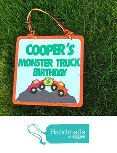 Monster Truck Birthday Party Personalized mailbox / doorsign. Colors can be Changed. from Blue Box Party https://www.amazon.com/dp/B017TXRVTI/ref=hnd_sw_r_pi_dp_7hkKwbV8SBAZ4 #handmadeatamazon