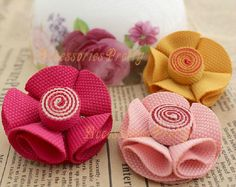 5 Rolled Fabric Flower 2 inch Multicolor by AccessoriesPretty, $6.50