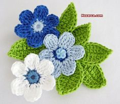 Crochet a 5 Petal Flower - Wendy Schultz via Sharin Ware onto Crochet.For Beginners Tig Isi Cicek Motif Picture Narration Newcomer … - The GardenersFive petal flower. Treble crochet, single stitch and foundation chain Crochet Leaves, Knitted Flowers, Crochet Motifs, Crochet Flower Patterns, Crochet Stitches, Knitting Patterns Free, Free Pattern, Crochet Crafts, Crochet Projects