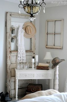 A cozy corner in the farmhouse master bedroom using textures with whites and grays. - Continued!