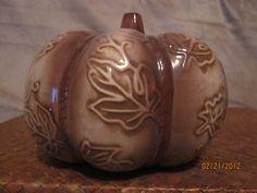 Ceramic Pumpkin with Leaf Imprints