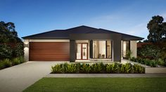Browse the various new home designs and house plans on offer by Carlisle Homes across Melbourne and Victoria. Find a house plan for your needs and budget today! Front Yard Garden Design, Front House Landscaping, House Front Design, Design Your Dream House, Modern House Design, Modern House Plans, House Floor Plans, Aspen, Carlisle Homes