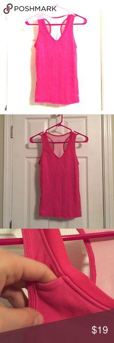 Hot Pink Bra Exercise Top Built in bra. Small pocket (see photo). Danskin. Size small 6/8 Danskin Now Tops Tank Tops
