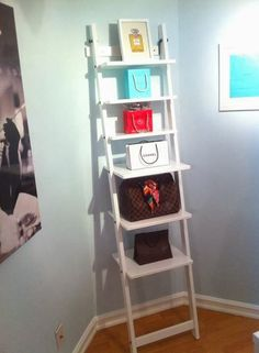 White Ikea ladder book shelf - designer woman's home office (chanel, louis vuitton, tiffany and co)