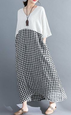 Women loose fit pocket dress checkered tunic short sleeve large size pregnant #Unbranded #dress #Casual