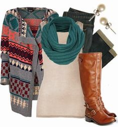 Amazing colours cardigan, scarf, white blouse, jeans and brown long boots for fall and winter