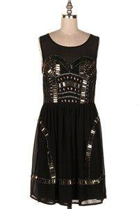 STONE EMBELLISHED FLARED DRESS. 19P-137140