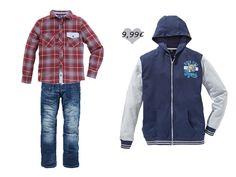Unsere College-Stil Sweatjacke kombiniert mit  Jeans (€ 12,99) und Hemd (€ 7,99).