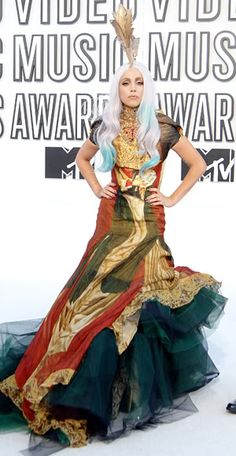 Lady Gaga in Alexander McQueen 2010 MTV Video Music Awards #celebrities #celebrityfashion #redcarpet