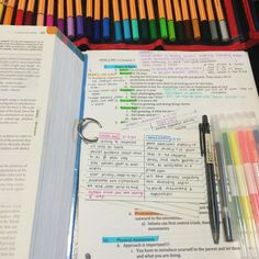 Doing Week 1′s readings for Peds ft. pens from muji, highlighters from Daiso, and stabilo pens. I love using a lot of color coding, because when I stare at it for long enough or go over it multiple...