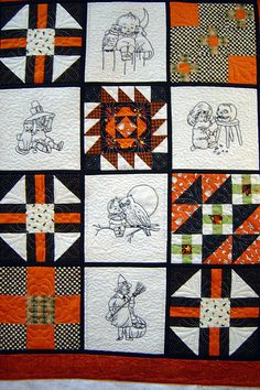 """Halloween quilt using """"Jolly Halloween"""" pattern for embroidery blocks"""