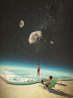 couch pillows 431923420515948984 - Summer with a Chance of Asteroids Mini Art Print by Frank Moth – Without Stand – x Source by klervircs Surreal Collage, Surreal Art, Collage Art, Collage Vintage, Collages, Psychedelic Art, Foto Fantasy, Retro Art, Sci Fi Art