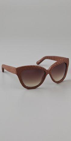 97b2047007b3 Linda Farrow Luxe Snakeskin Curved Square Sunglasses Cool Sunglasses