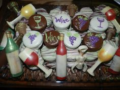 Wine Party chocolate and chocolate covered Oreos   http://www.etsy.com/shop/TwistedSisterTreats