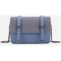 SheIn(sheinside) Double Belt Front PU Chain Crossbody Bag (395 CZK) ❤ liked on Polyvore featuring bags, handbags, shoulder bags, blue, blue crossbody, polyurethane handbags, chain handbags, blue purse and blue shoulder bag