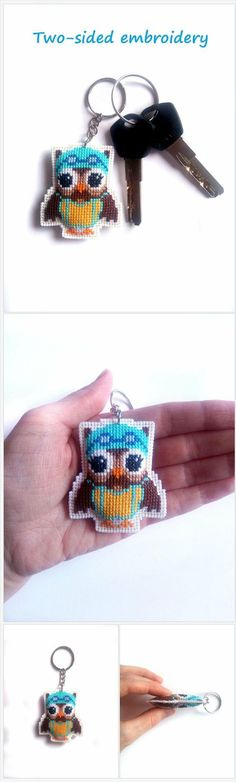 Unique gift for swimmer. Miniature cute owl keychain.