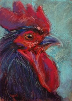 Rooster Painting 7x5 pastel, painting by artist Karen Margulis