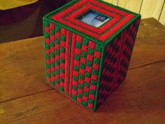 Boutique Tissue Box Cover in Green and Red by JRCreations14, $12.00