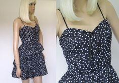Vintage 1980s Black & White Polka Dot 3-Tier Ruffled Party Prom Cocktail Mini Dress Size Medium