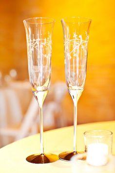 Custom engraved champagne toasting glasses http://www.bottlesfinewine.com/engraving
