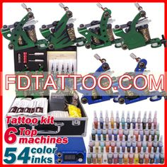 6 Guns Tattoo Kit with LED Power and 54 Color Ink  Wholesale Price:US $65.76