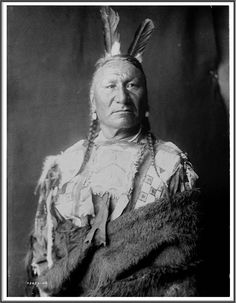 Yellow Horse--Yanktonai, half-length portrait, standing, facing slightly right, with long braids, two eagle feathers in hair, wrapped in buffalo skin