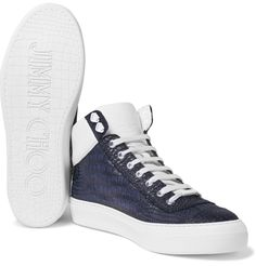 <a href='http://www.mrporter.com/mens/Designers/Jimmy_Choo'>Jimmy Choo</a>'s 'Argyle' sneakers are crafted from soft midnight-blue leather embossed with a croc-effect pattern. Punctuated with a row of silver eyelets, this characterful pair has padded white leather collars, cushioned linings and durable rubber soles. They'll become a slick mainstay of your weekend wardrobe.