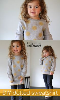 add #polka #dots with #paint | this J. Crew inspired girls dotted sweatshirt is so cute! I want to make one for myself. #easy #craft #sewing #upcycle #refashion