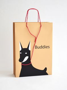 Creative bags for pet store Buddies Branding And Packaging, Luxury Packaging, Bag Packaging, Branding Design, Custom Packaging, Packaging Design Inspiration, Graphic Design Inspiration, Printed Carrier Bags, Shopping Bag Design