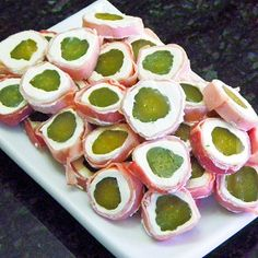 Inspired By eRecipeCards: Pickle Eyeballs - Church PotLuck Appetizers. Cream cheese, ham, pickles