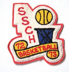 Vintage 1970s Patch // Large 70s Highschool Basketball Patch // Retro Jacket Patch