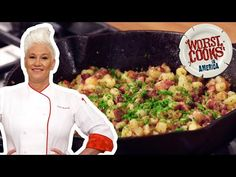 Anne takes us through the step-by-step process of making the best breakfast potatoes! The bacon, peppers and onions bring toooons of flavor. Breakfast Hash, Breakfast Potatoes, Best Breakfast, Breakfast Recipes, My Recipes, Cooking Recipes, Favorite Recipes, Chef Anne Burrell, Worst Cooks In America