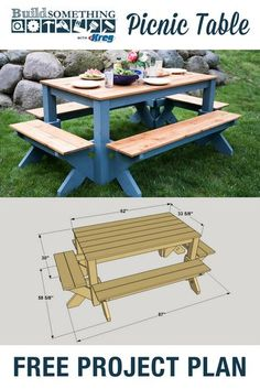 DIY Picnic Table   Free printable project plans at buildsomething.com   This outdoor picnic table is a package deal. Benches on each side connect to the table legs to create a solid, stable footprint in any yard or patio. Seat the entire family around this spacious table and enjoy summer meals in style for years to come.