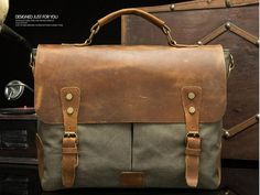 Vintage Style Canvas Leather Flap-over Messenger Bag