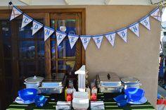 Baseball Themed Birthday Party! #Dodgers #Baseball #BaseballParty #BirthdayParty #1stBirthday #HarmoniousEvents #BlueandWhite #Decor #Design #Rentals