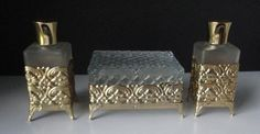 Vintage Glass and gold tone Metal Perfume Bottles by Cosasraras, $39.00