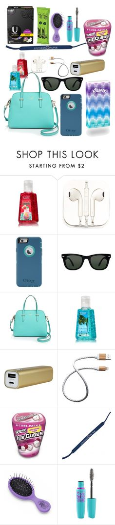 """""""What's in my purse!!!"""" by emily-milller ❤ liked on Polyvore featuring PhunkeeTree, Ray-Ban, Kate Spade, Kleenex, Le Cord, Southern Proper and Volum"""