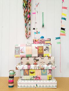 awesome, whimsical, imaginative wrapping with creative use of various media elements including washi tape